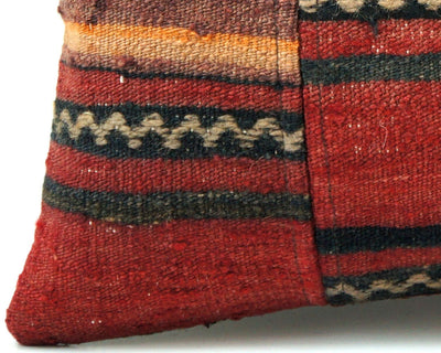 CLEARANCE 16x16 Vintage Hand Woven Turkish Kilim Pillow  - Old  Kilim Cushion 310,black,red,yellow,white ,gray,striped - kilimpillowstore  - 2