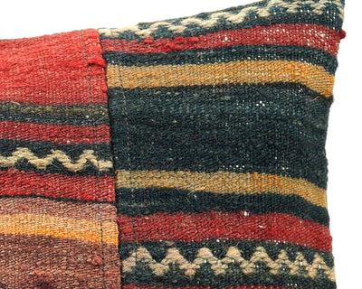 CLEARANCE 16x16 Vintage Hand Woven Turkish Kilim Pillow  - Old  Kilim Cushion 310,black,red,yellow,white ,gray,striped - kilimpillowstore  - 4