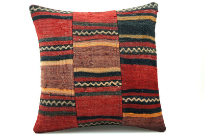 CLEARANCE 16x16 Vintage Hand Woven Turkish Kilim Pillow  - Old  Kilim Cushion 310,black,red,yellow,white ,gray,striped - kilimpillowstore  - 1