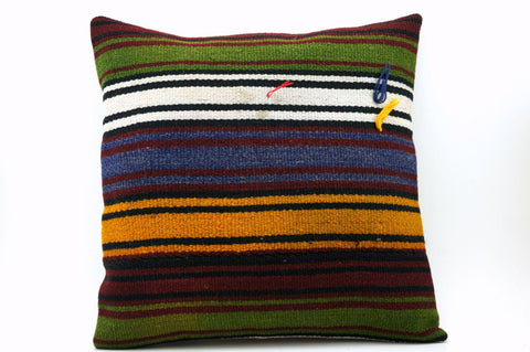 16x16 Vintage Hand Woven Turkish Kilim Pillow  - Old  Kilim Cushion 319,navy blue,green,black,amber,claret red,white , tassel,striped - kilimpillowstore  - 1