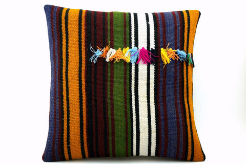 16x16 Vintage Hand Woven Turkish Kilim Pillow  - Old  Kilim Cushion 314,navy blue,green,black,amber,claret red,white , tassel,striped - kilimpillowstore  - 1