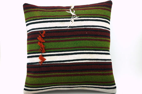 CLEARANCE 16x16 Vintage Hand Woven Turkish Kilim Pillow  - Old  Kilim Cushion 321,green,black,claret red,white, tassel,striped - kilimpillowstore  - 1
