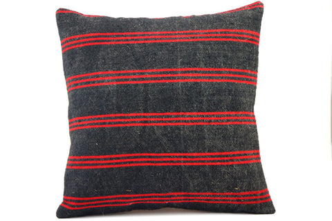 CLEARANCE 16x16 Vintage Hand Woven Turkish Kilim Pillow  - Old Kilim Cushion 358,red,black,striped - kilimpillowstore  - 1