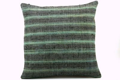 CLEARANCE 16x16 Vintage Hand Woven Turkish Kilim Pillow  - Old Kilim Cushion  377, light green , gray,, teal , abrasion, striped,  faded - kilimpillowstore  - 1
