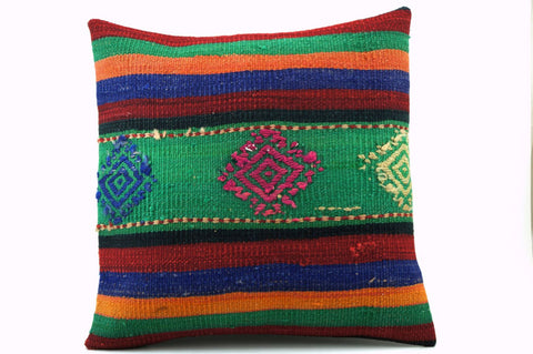 CLEARANCE 16x16 Vintage Hand Woven Kilim Pillow  389, red, green, teal , orange, navy blue, black, beige, ivory, striped, embroidery faded - kilimpillowstore  - 1