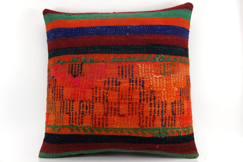 CLEARANCE 16x16 Vintage Hand Woven Kilim Pillow  406, red, green, teal , orange, navy blue, black, beige, ivory, striped, embroidery faded - kilimpillowstore  - 1