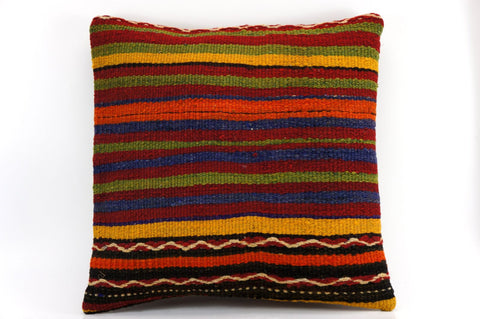 CLEARANCE 16x16 Vintage Hand Woven Kilim Pillow  435, blue, red,  orange, black, green , striped, embroidery faded - kilimpillowstore  - 1