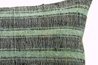 CLEARANCE 16x16 Vintage Hand Woven Turkish Kilim Pillow  - Old Kilim Cushion  377, light green , gray,, teal , abrasion, striped,  faded - kilimpillowstore  - 4