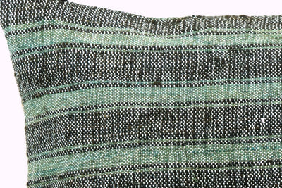 CLEARANCE 16x16 Vintage Hand Woven Turkish Kilim Pillow  - Old Kilim Cushion  377, light green , gray,, teal , abrasion, striped,  faded - kilimpillowstore  - 3