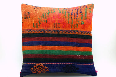 CLEARANCE 16x16 Vintage Hand Woven Kilim Pillow     387, red, green, teal , orange, navy blue, black, beige striped, embroidery faded - kilimpillowstore  - 1
