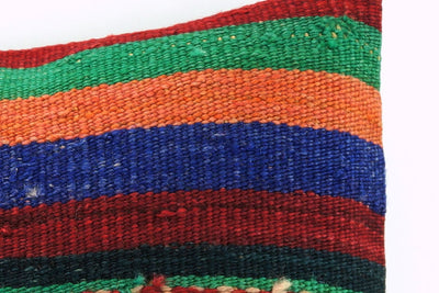 CLEARANCE 16x16 Vintage Hand Woven Kilim Pillow     388, red, green, teal , orange, navy blue, black, beige striped, embroidery faded - kilimpillowstore  - 3