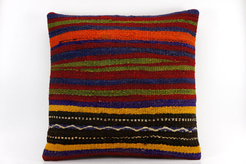 CLEARANCE 16x16 Vintage Hand Woven Kilim Pillow  437, blue, red,  orange, black, green , striped, embroidery faded - kilimpillowstore  - 1