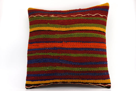 16x16 Vintage Hand Woven Kilim Pillow  441, blue, red,  orange, black, green , purple striped, embroidery faded - kilimpillowstore  - 1