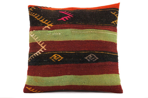 CLEARANCE 16x16 Vintage Hand Woven Kilim Pillow  450,orange,pink,white,green, claret red,amber, black,tribal,striped - kilimpillowstore  - 1