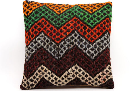 CLEARANCE 16x16 Vintage Hand Woven Kilim Pillow  479,green,red,beige,black,gray,orange,chevron - kilimpillowstore  - 1