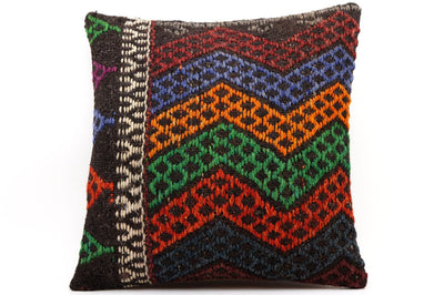 CLEARANCE 16x16 Vintage Hand Woven Kilim Pillow  489,white,orange,green,blue,dark blue,black,red,claret red,chevron - kilimpillowstore  - 1