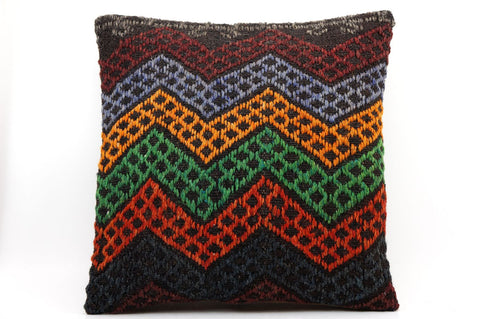 CLEARANCE 16x16 Vintage Hand Woven Kilim Pillow  495,orange,green,blue,black,red,claret red,chevron - kilimpillowstore  - 1