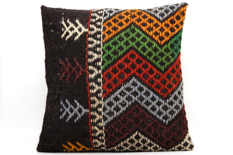CLEARANCE 16x16 Vintage Hand Woven Kilim Pillow  502,white,orange,green,blue,black,red,claret red,purple,chevron - kilimpillowstore  - 1