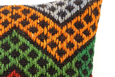 CLEARANCE 16x16 Vintage Hand Woven Kilim Pillow  502,white,orange,green,blue,black,red,claret red,purple,chevron - kilimpillowstore  - 2