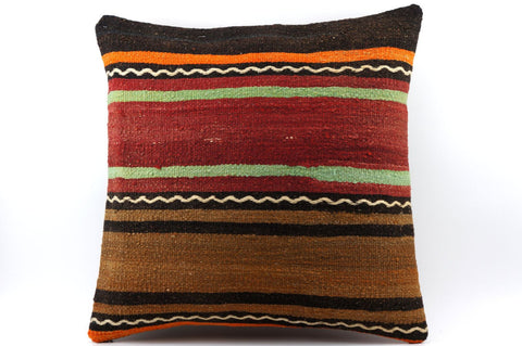 CLEARANCE 16x16 Vintage Hand Woven Kilim Pillow 529  ,orange, brown, red, black, green, terracota, chain, striped - kilimpillowstore  - 1