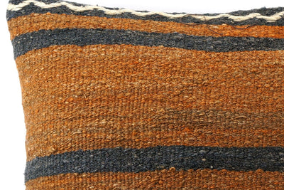 CLEARANCE 16x16 Vintage Hand Woven Kilim Pillow 532  ,orange, brown, red, black, green, terracota, chain, striped - kilimpillowstore  - 3