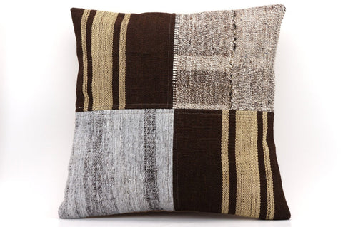 CLEARANCE 16x16 Vintage Hand Woven Kilim Pillow 536  ,beige, brown, white, gary, black ,patchwork, striped - kilimpillowstore  - 1