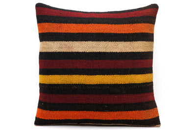 CLEARANCE 16x16 Vintage Hand Woven Kilim Pillow 548  ,black, beige, yellow,claret red, orange, striped - kilimpillowstore  - 1