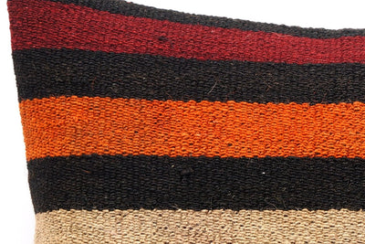 CLEARANCE 16x16 Vintage Hand Woven Kilim Pillow 548  ,black, beige, yellow,claret red, orange, striped - kilimpillowstore  - 3