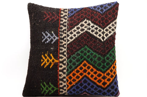 CLEARANCE 16x16 Vintage Hand Woven Kilim Pillow  483,green,amber,blue,black,orange,claret red,chevron - kilimpillowstore  - 1