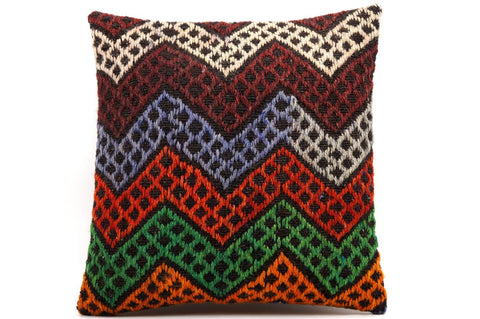 CLEARANCE 16x16 Vintage Hand Woven Kilim Pillow  484,white,red,green,blue,black,orange,claret red,chevron - kilimpillowstore  - 1
