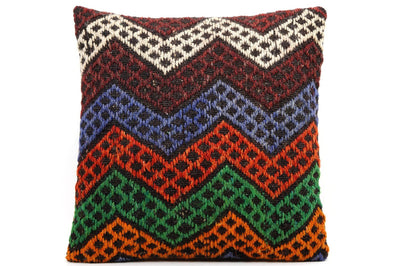 CLEARANCE 16x16 Vintage Hand Woven Kilim Pillow  491,white,orange,green,blue,black,red,claret red,chevron - kilimpillowstore  - 1