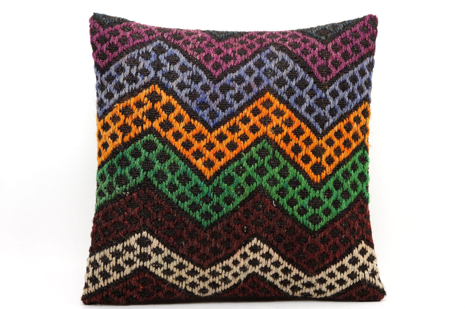 CLEARANCE 16x16 Vintage Hand Woven Kilim Pillow  501,white,green,blue,black,red,claret red,purple,chevron - kilimpillowstore  - 1