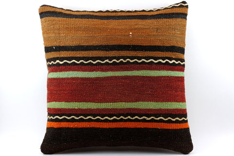 CLEARANCE 16x16 Vintage Hand Woven Kilim Pillow 530  ,orange, brown, red, black, green, terracota, chain, striped - kilimpillowstore  - 1