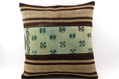 CLEARANCE 16x16 Vintage Hand Woven Kilim Pillow 533  ,beige, brown,green, teal striped - kilimpillowstore  - 1
