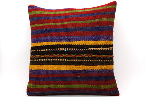 CLEARANCE 16x16 Vintage Hand Woven Kilim Pillow 543  ,red, blue, black, yellow, green, striped, chain - kilimpillowstore  - 1
