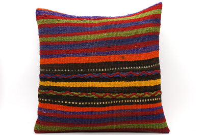 16x16 Vintage Hand Woven Kilim Pillow 546  ,red, blue, black, yellow, green, striped, chain - kilimpillowstore  - 1