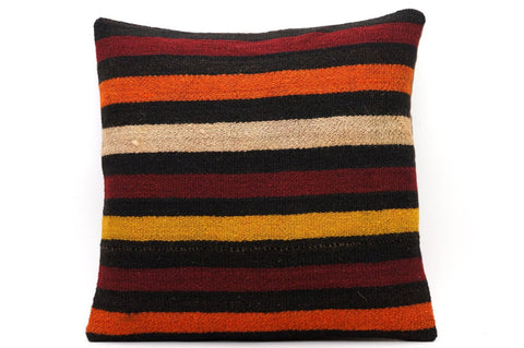 CLEARANCE 16x16 Vintage Hand Woven Kilim Pillow 551  ,black, beige, yellow,claret red, orange, striped - kilimpillowstore  - 1