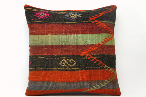 CLEARANCE 16x16 Vintage Hand Woven Kilim Pillow 576 green, red, black ,orange, pink, white,  striped tribal - kilimpillowstore  - 1