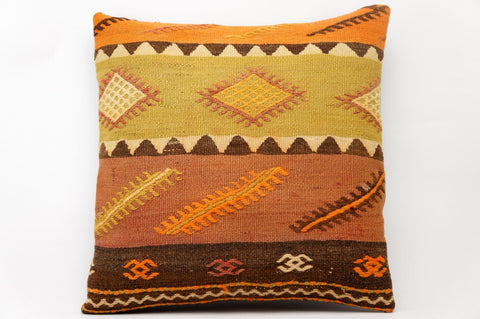 16x16 Vintage Hand Woven Kilim Pillow 586 green, brown, orange ,beige, mustard, striped,  tribal, zigzag - kilimpillowstore  - 1