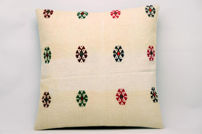 CLEARANCE 16x16 Vintage Hand Woven Kilim Pillow 628 cream, green red orange embroidery - kilimpillowstore  - 1