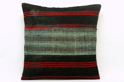 CLEARANCE 16x16 Vintage Hand Woven Kilim Pillow 660 green red black patchwork striped - kilimpillowstore  - 1