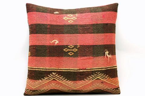 CLEARANCE 16x16 Vintage Hand Woven Kilim Pillow 565 ,pink , black, striped checkered, - kilimpillowstore  - 1