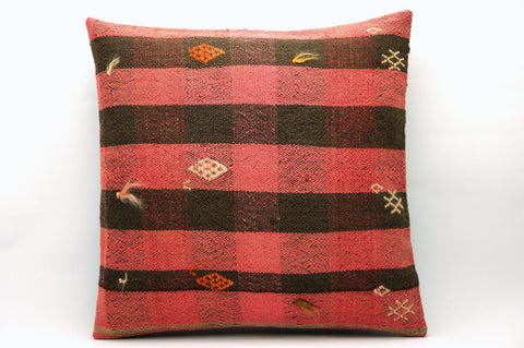 16x16 Vintage Hand Woven Kilim Pillow 568 ,pink , black, striped checkered, - kilimpillowstore  - 1