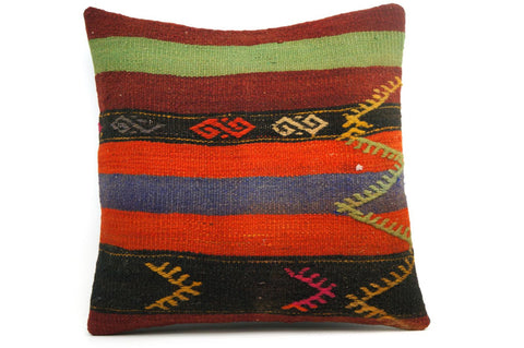 CLEARANCE 16x16 Vintage Hand Woven Kilim Pillow 573 green, red, black ,orange, pink, white,  striped tribal - kilimpillowstore  - 1