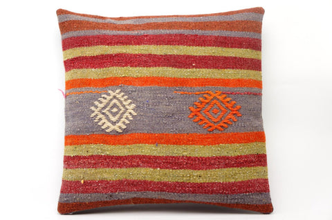 CLEARANCE 16x16 Vintage Hand Woven Kilim Pillow 585 green, claret red, gray ,beige, pink,  striped,  tribal - kilimpillowstore  - 1