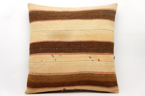 CLEARANCE 16x16 Vintage Hand Woven Kilim Pillow 596  beige, brown, cream striped - kilimpillowstore  - 1