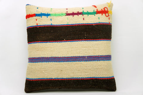 CLEARANCE 16x16 Vintage Hand Woven Kilim Pillow 629 cream, brown ,blue, red, green, yellow embroidery, striped - kilimpillowstore  - 1