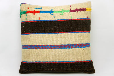 CLEARANCE 16x16 Vintage Hand Woven Kilim Pillow 633 cream, brown ,blue, red, green, yellow embroidery, striped - kilimpillowstore  - 1
