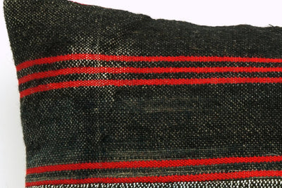 CLEARANCE 16x16 Vintage Hand Woven Kilim Pillow 660 green red black patchwork striped - kilimpillowstore  - 3