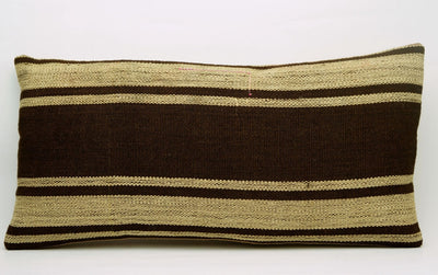 CLEARANCE 12x24 Vintage Hand Woven Kilim Pillow Lumbar 682 beige brown camel striped - kilimpillowstore  - 2